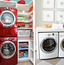 Red stacked washer and dryer